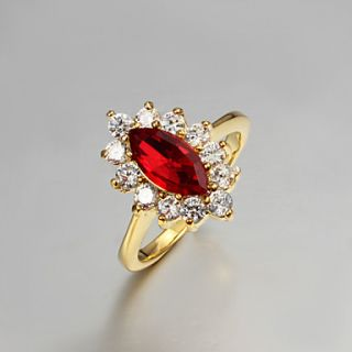 High Quality Vintage Gold Plated Red Cubic Zirconia With Clear Rhinestone Olivary Womens Ring