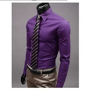 Uyuk Mens Purple Stand Collar Long Sleeve Casual Style Shirt