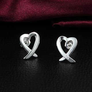High Quality Heart Shape Slivery Alloy Womens Stud Earring(1 Pair)