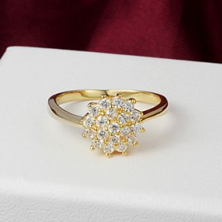 High Quality Shining Gold Plated Clear Rhinestone Flower Shaped Womens Ring