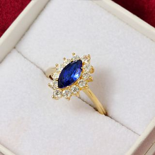 High Quality Vintage Gold Plated Blue Cubic Zirconia With Clear Rhinestone Olivary Womens Ring