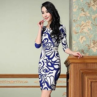 Womens Vintage Slim Elastic Dress