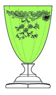 Glastonbury   Lotus Mcguire Green Bowl Water Goblet   Green Bowl, Etch 1001, Ste