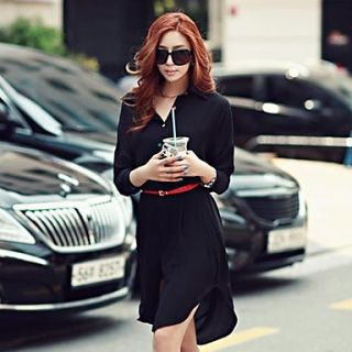 Womens Fashion Slim Lapel Dress
