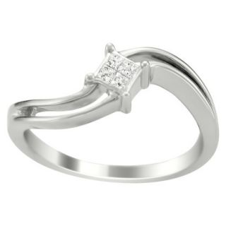 1/10 CT. T.W. Princess Cut Diamond Composite set Promise Ring in 14K White Gold