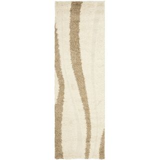 Safavieh Shag Cream/ Dark Brown Rug (23 X 8)