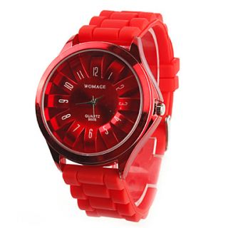 Womens Chrysanthemum Style Dial Silicone Band Quartz Analog Wrist Watch (Red)