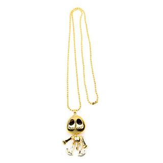 Fashionable big eyes UFO alien devil skull long necklace sweater chain (random color)