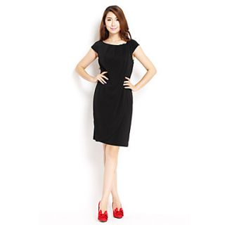 Womens Fashion Slim Bodycon Dress(Black)