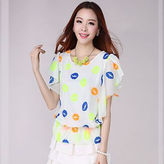 E Shop 2014 Summer Skull Print Bat Sleeve Loose Fit Chiffon Shirt (White)