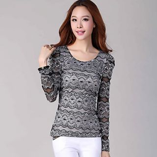 E Shop 2014 Sweet Graceful Lace Long Sleeve Shirt (Black)