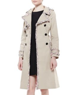 Womens fontaine trench coat with fuzzy trim, beige   kate spade new york