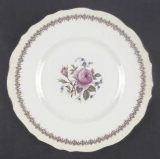 Royal Cauldon Ecstasy Dinner Plate, Fine China Dinnerware   Cream & Brown Rim