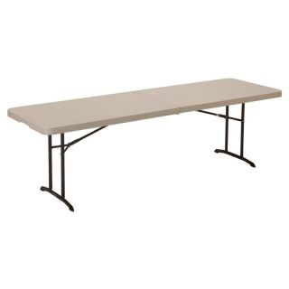 Lifetime 8 ft. Rectangle Commercial Fold In Half Table   White   80175