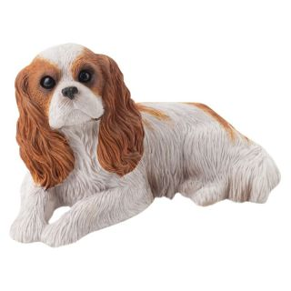 Sandicast Small Size Ruby Cavalier King Charles Spaniel Sculpture Multicolor