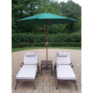 Oakland Living Mississippi Cast Aluminum Chaise Lounge Set with Umbrella and