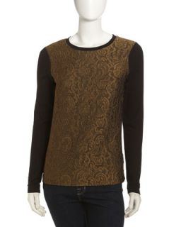 Lace Front Long Sleeve Tee