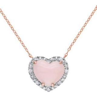 Womens Pink Heart Pendant Necklace   Pink