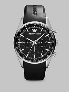 Emporio Armani Stainless Steel Chronograph Watch   Black