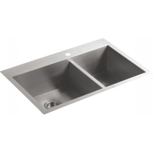 Kohler K 3823 1 NA Vault Vault  offset kitchen sink with single hole faucet dril