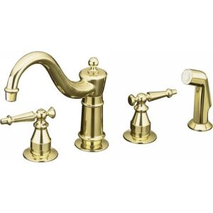 Kohler K 158 4 PB Antique Two Handle Kitchen Faucet with Sidespray