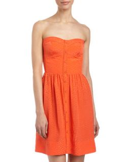 Perfect Fit Jacquard Strapless Dress, Coral