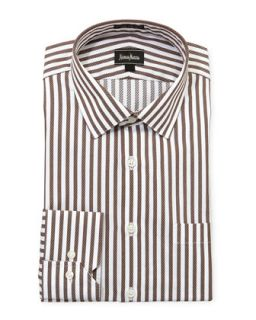 Regular Finish Classic Fit Striped Dress Shirt, Brown/White