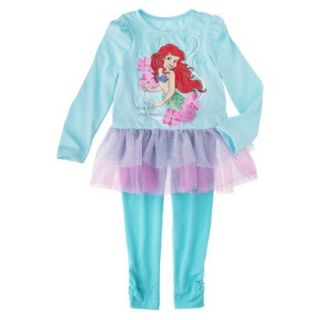 Disney Infant Toddler Girls 2 Piece Ariel Set   Aqua 12 M