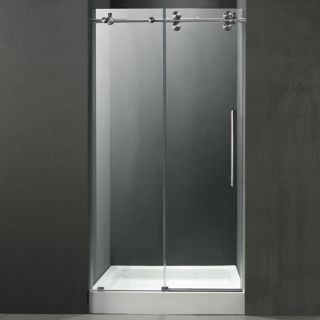 Vigo Industries VG6041STCL48WS Shower Door, 48 Frameless 3/8 w/White Base Center Drain Clear/Stainless Steel