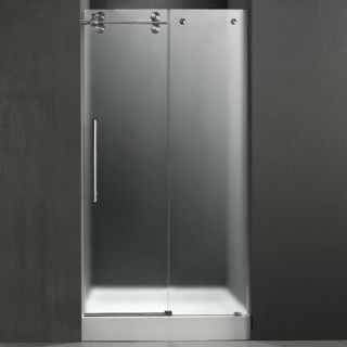 Vigo Industries VG6041STMT60LWS Shower Door, 60 Frameless 3/8 Left w/White Base Center Drain Frosted/Stainless Steel