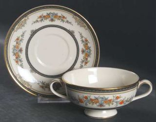 Minton Stanwood (Gold Trim) Footed Cream Soup Bowl & Cup Saucer Set, Fine China