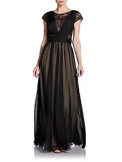 Sequined Silk Chiffon Cap Sleeve Gown   Black