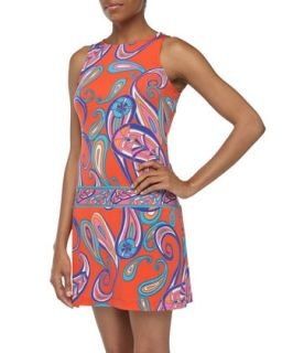 Sleeveless Tapestry Print Drop Waist Dress, Rouge Multi