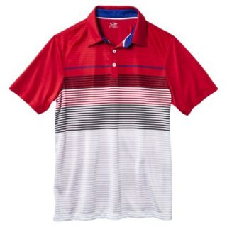 C9 by Champion Mens Advanced Striped Golf Polo Shirt   Red L