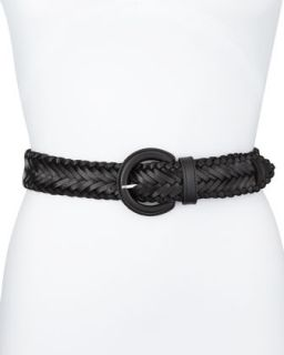 Braided Leather Belt, Black, Womens