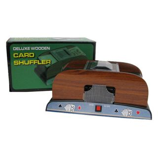Trademark Poker 1 2 Deck Deluxe Wooden Card Shuffler Brown   10 37581