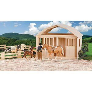 Breyer Model Horse Two Stall Wooden Barn Red