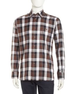 Luke Large Check Sport Shirt, Brown