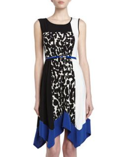 Belted Leopard Print Colorblock Dress, Black/Blue