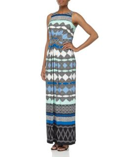 Sleeveless Striped/Printed Jersey Dress, Holland Blue