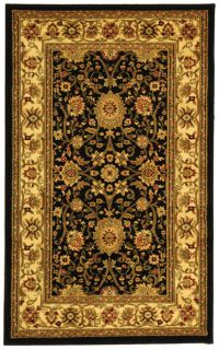 Lyndhurst Collection Majestic Black/ Ivory Rug (53 X 76)