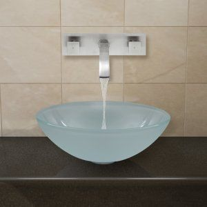 Vigo Industries VGT275 Universal White Frost Vessel Sink and Wall Mount Faucet S