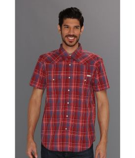 Lucky Brand Sawatch Plaid S/S Western Mens Short Sleeve Button Up (Red)